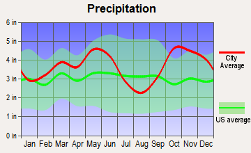 Winnsboro, Texas average precipitation
