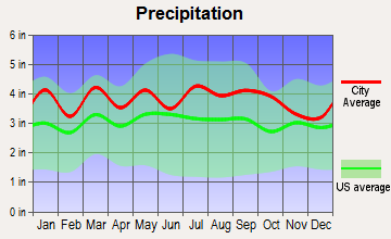 Crewe, Virginia average precipitation