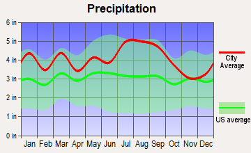 Franklin, Virginia average precipitation
