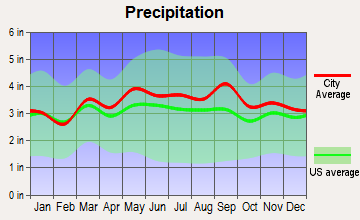 Great Falls, Virginia average precipitation