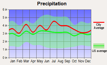 Mechanicsville, Virginia average precipitation