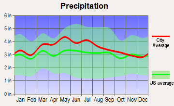 Merrimac, Virginia average precipitation