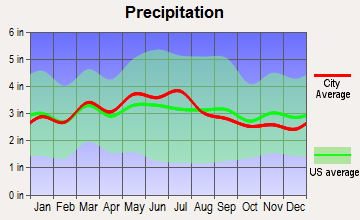 Rich Creek, Virginia average precipitation