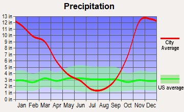 Chinook, Washington average precipitation