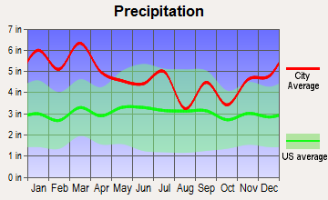 Locust Fork, Alabama average precipitation
