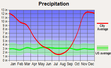 Long Beach, Washington average precipitation
