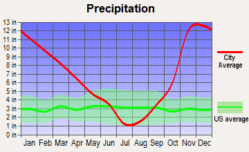 Bonneville, Washington average precipitation