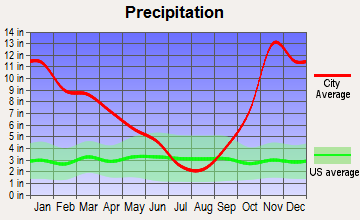 Riverbend, Washington average precipitation