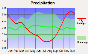 Shoreline, Washington average precipitation