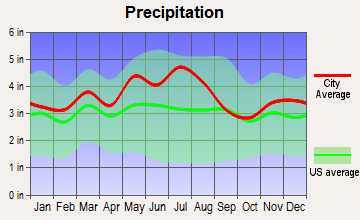 Hurricane, West Virginia average precipitation