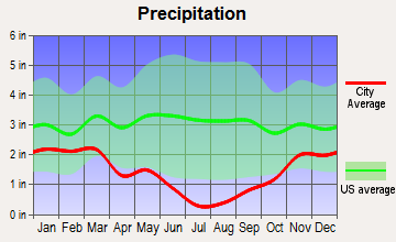 Big Valley, California average precipitation