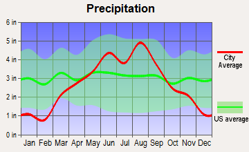 Dallas, Wisconsin average precipitation