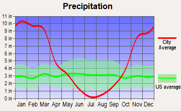 Central Shasta, California average precipitation