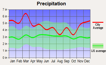 Owens Cross Roads, Alabama average precipitation