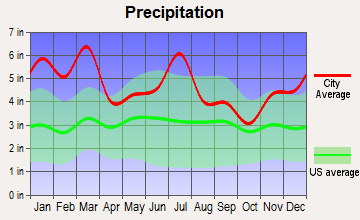 Ozark, Alabama average precipitation