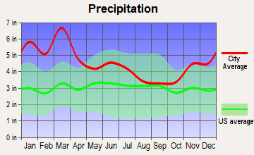 Ranburne, Alabama average precipitation