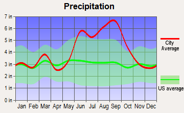 Port Orange, Florida average precipitation