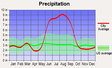 Ridge Wood Heights, Florida average precipitation
