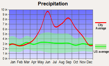 Collier Manor-Cresthaven, Florida average precipitation