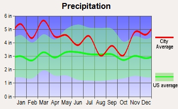 Vestavia Hills, Alabama average precipitation
