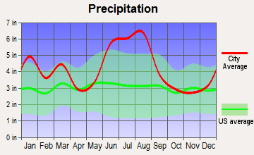 Waycross, Georgia average precipitation
