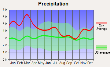 West End-Cobb Town, Alabama average precipitation