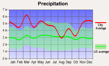 Tri-Cities, Alabama average precipitation