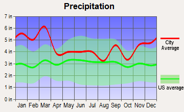North Whitfield, Georgia average precipitation