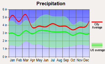 Between, Georgia average precipitation