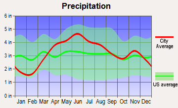 Park Forest, Illinois average precipitation