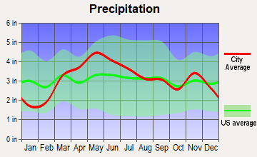 Waverly, Illinois average precipitation