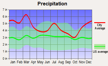 Camp Hill, Alabama average precipitation