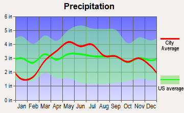 Creve Coeur, Illinois average precipitation
