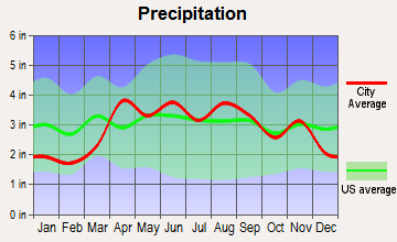 Green Oaks, Illinois average precipitation