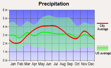 Daleville, Indiana average precipitation