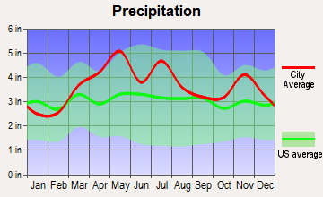 Oaktown, Indiana average precipitation