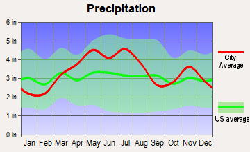 Whiteland, Indiana average precipitation