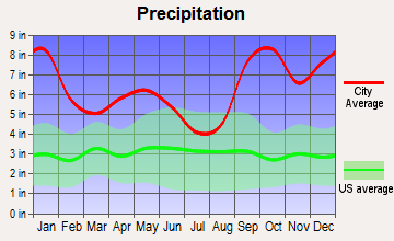 Womens Bay, Alaska average precipitation