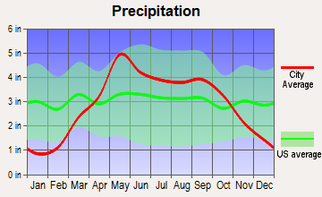 Elwood, Kansas average precipitation
