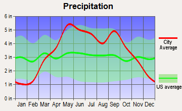 Leavenworth, Kansas average precipitation