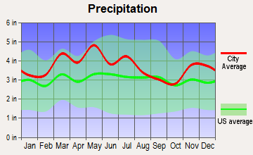 South Park View, Kentucky average precipitation