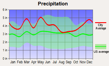 Vine Grove, Kentucky average precipitation
