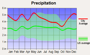 Cumberland City, Kentucky average precipitation