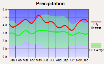 Magnolia-Upton, Kentucky average precipitation