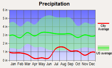 Pima, Arizona average precipitation