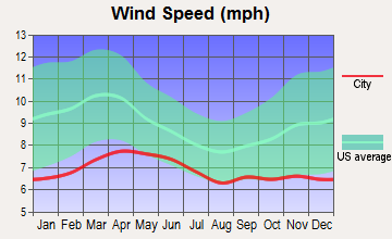 East Fork, Arizona wind speed