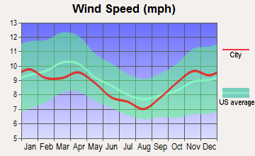 Cadillac, Michigan wind speed
