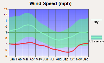 Bainbridge Island, Washington wind speed