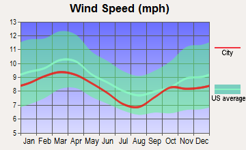 Bloomingdale, Florida wind speed