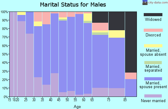 Zip code 01864 marital status for males
